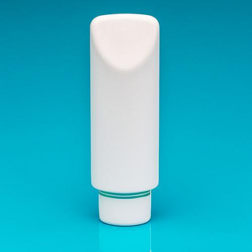 200 ml Tubenflasche weiß, PE Schraub-VS weiß/Goldbänder, inkl Spritzeinsatz