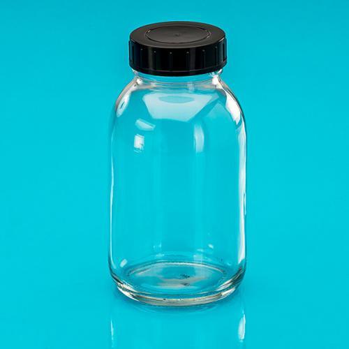 500 ml Weithalsglas,klar  Deckel schwarz, DIN 55