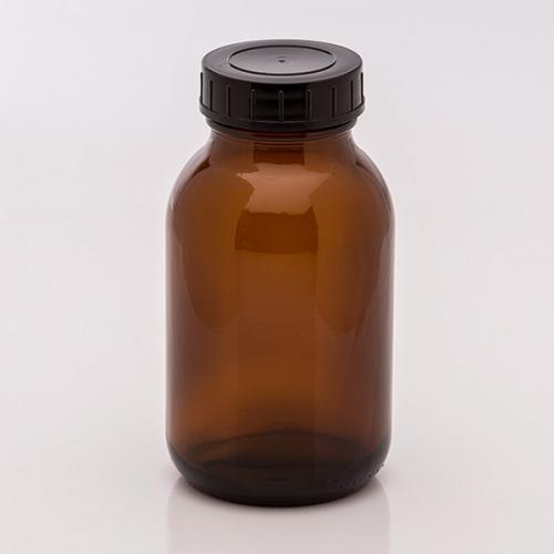 500 ml Weithalsglas, braun Deckel schwarz, DIN 55
