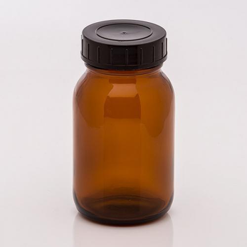 300 ml, Weithalsglas, braun Deckel schwarz, DIN 55