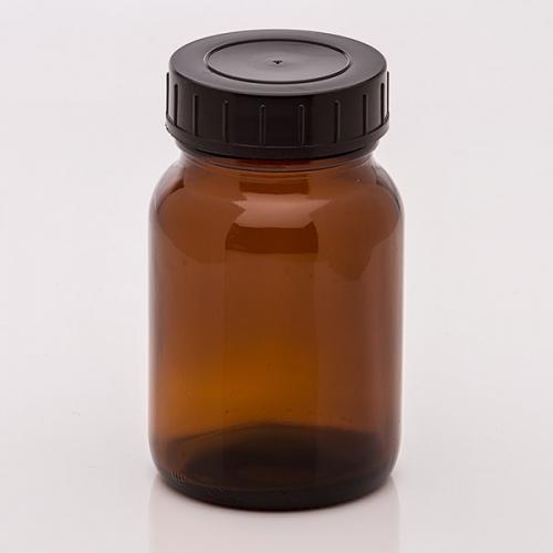 250 ml Weithalsglas, braun Deckel schwarz, DIN 55