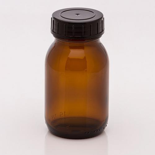 125 ml Weithalsglas, braun Deckel schwarz, DIN 40