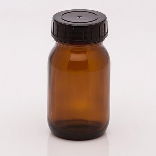 100 ml Weithalsglas, braun Deckel schwarz, DIN 40