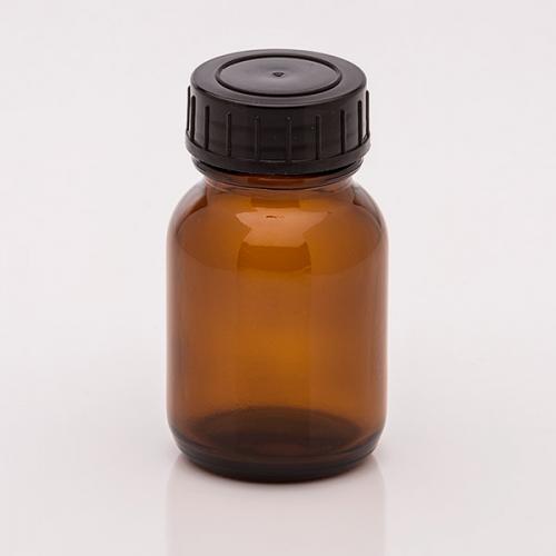 50 ml Weithalsglas, braun Deckel schwarz, DIN 32