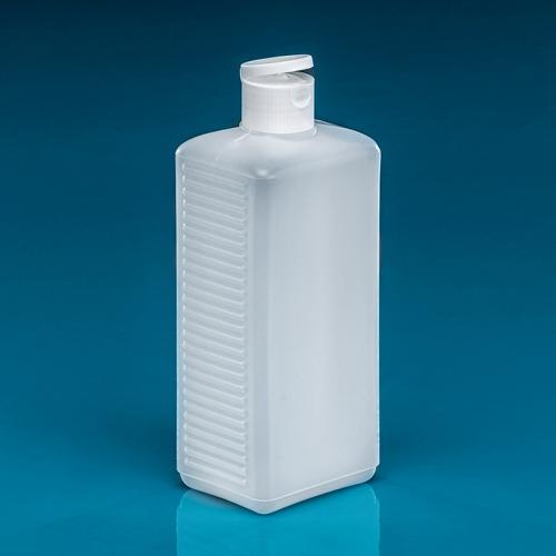 500 ml Vierkant Flasche natur HDPE, DIN25 Klappscharnier Verschluß, weiß PP