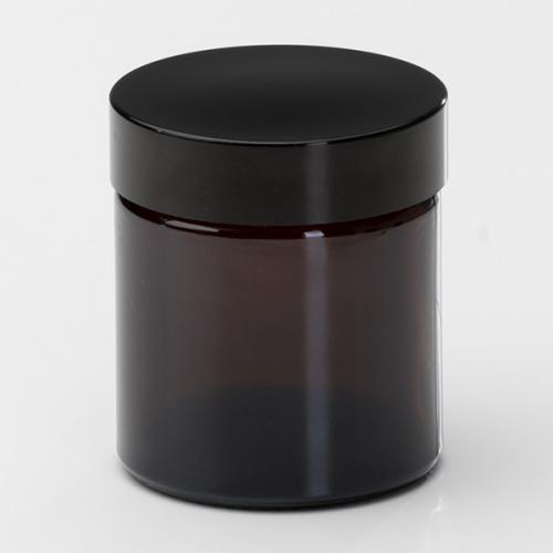 180 ml Braunglasdose Deckel schwarz mit EPE Einlage