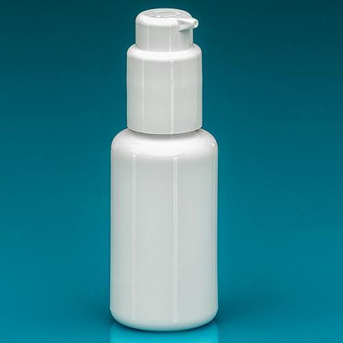 50 ml Flasche Opalglas weiß Lotionpumpe weiß, Hub 0,5 ml, Steigrohr ungekürzt