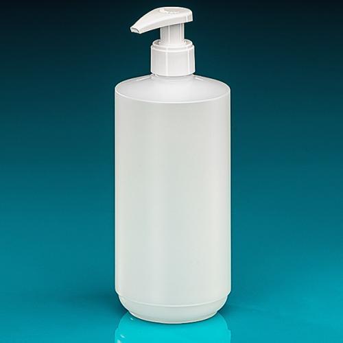 500 ml Flasche HDPE natur, zylind. Dispenser glatt, Hub 1,2 ml, Steigrohr ungekürzt