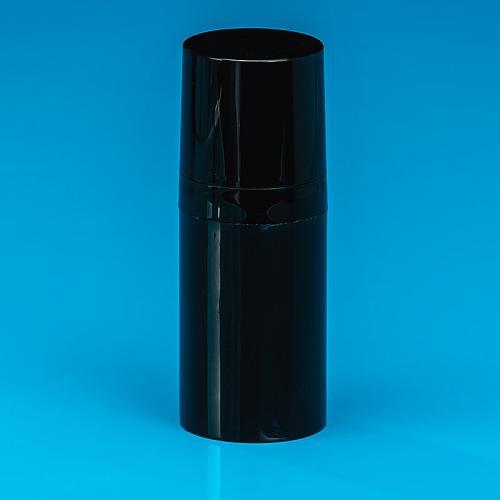 15 ml Flasche, schwarz, PP, Airless Dispenser schwarz, PP, Kappe schwarz, PP, Ø30 mm