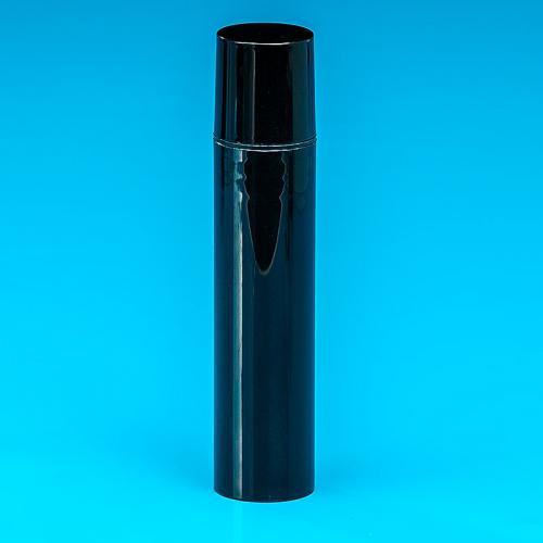 15 ml Flasche, schwarz, PP, Airless Dispenser schwarz, PP, Kappe schwarz, PP, Ø22,5 mm