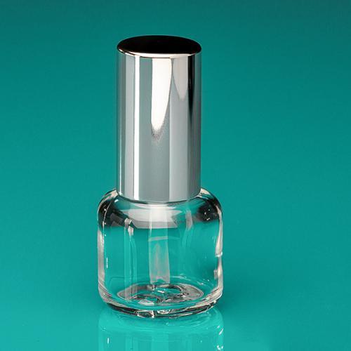 15 ml Flasche Glas rund, Dispenser rund Hub 0,15 ml, Kappe silber, Steigrohr ungek.