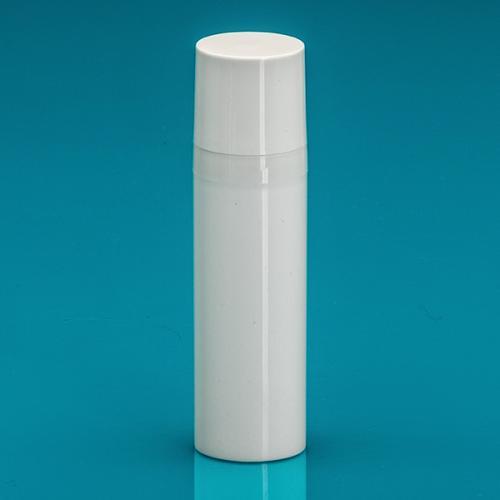 30 ml Airless-Flasche, 50%PCR/50%PP Dispenser / Kappe, PP, glänzend Weiß, Ø 30 mm