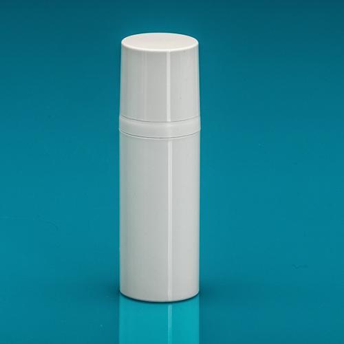 50 ml Airless-Flasche, 50%PCR/50%PP Dispenser / Kappe, PP, glänzend Weiß, Ø 37 mm