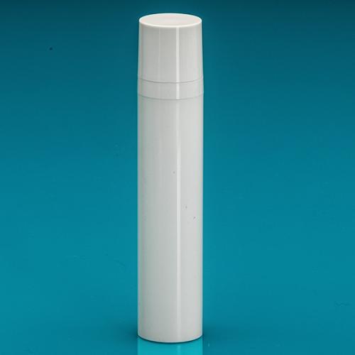 50 ml Airless-Flasche, 50%PCR/50%PP Dispenser / Kappe, PP, glänzend Weiß, Ø 30 mm