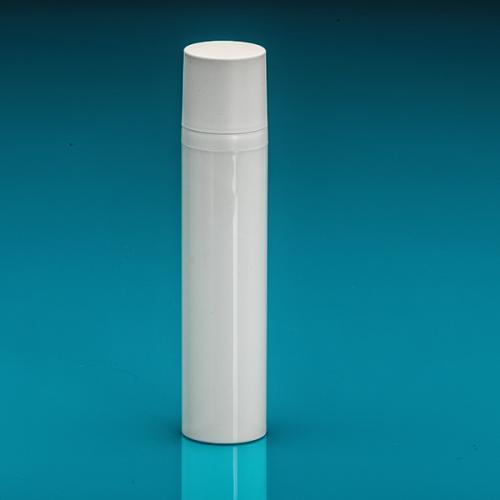 100 ml Airless-Flasche, 50%PCR/50%PP Dispenser / Kappe, PP, glänzend Weiß, Ø 37 mm