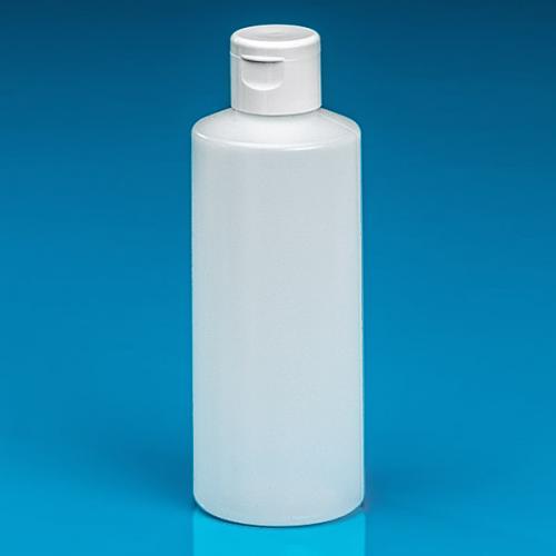 200 ml Flasche natur, HDPE Klappscharnierdeckel weiß