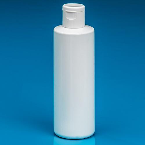 100 ml Flasche PP weiß, DIN 18 Klappscharnier-Verschluß weiß