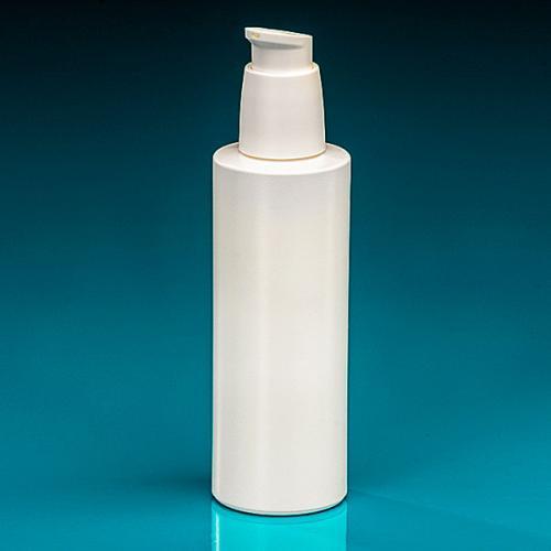 200 ml Flasche Green PE weiß Dispenser weiß verriegelbar, Hub 0,5 ml, Steigrohr ungekürzt