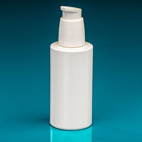 150 ml Flasche Green PE weiß Dispenser weiß verriegelbar, Hub 0,5 ml, Steigrohr ungekürzt