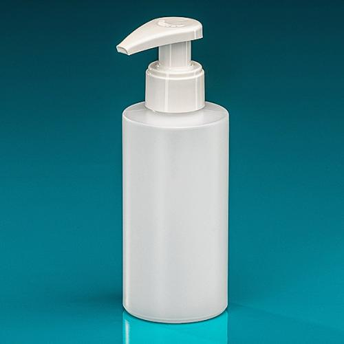 150 ml Flasche Green PE natur Dispenser weiß verriegelbar, Hub 1,2 ml, Steigrohr ungekürzt