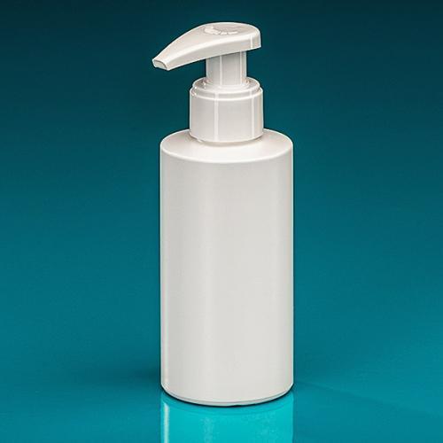 150 ml Flasche Green PE weiß Dispenser weiß verriegelbar, Hub 1,2 ml, Steigrohr ungekürzt
