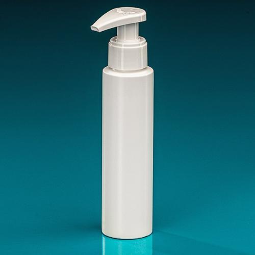 100 ml Flasche Green PE weiß Dispenser weiß verriegelbar, Hub 1,2 ml, Steigrohr ungekürzt