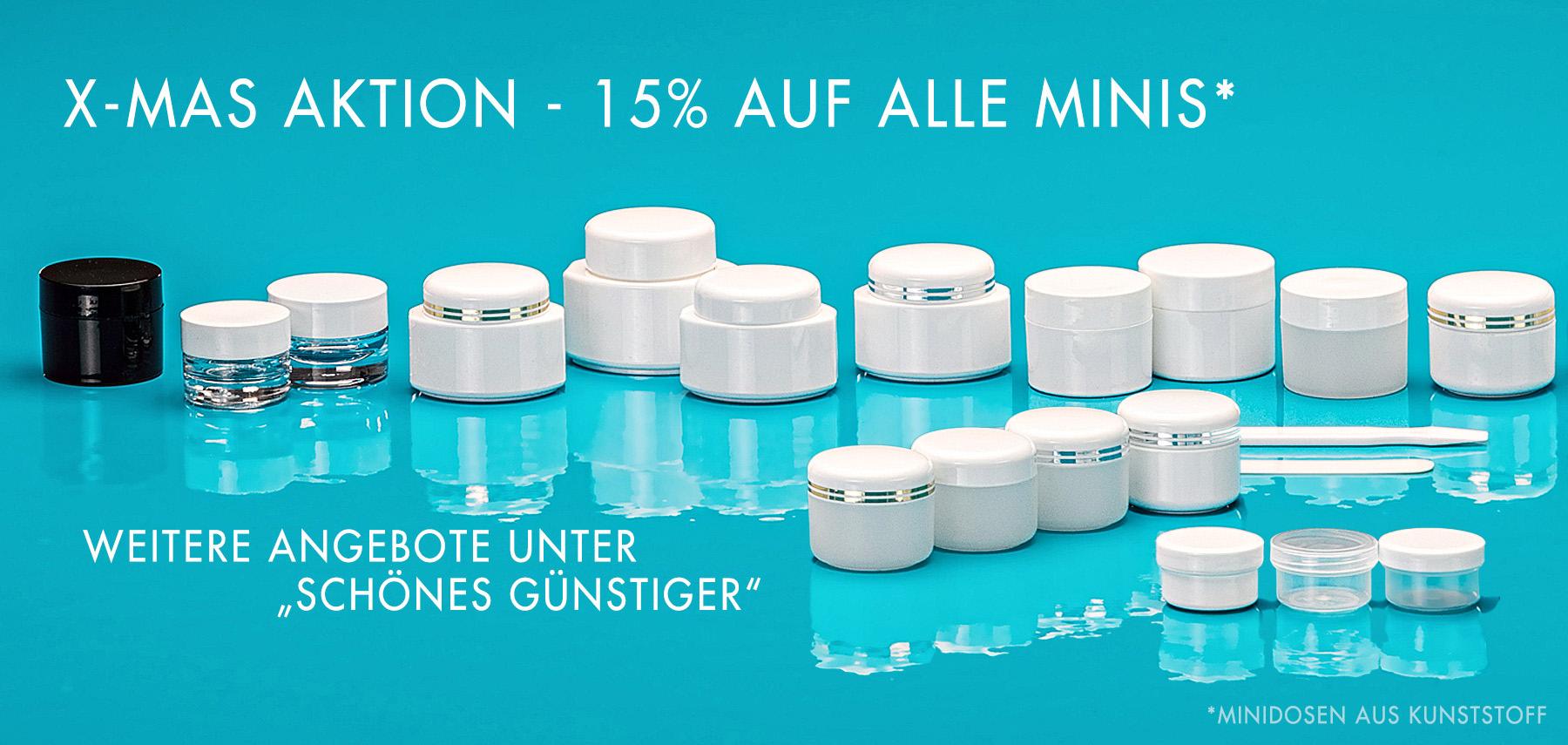 X-MAS Aktion - 15% auf alle Minis (Minidosen aus Kunststoff)