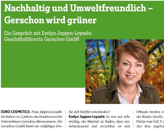 Gerschon wird grüner - Interview mit Eurocosmetics